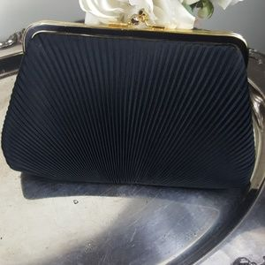 Ruched Black Satin Vintage Envelope Clutch Purse